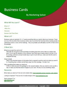 Business Cards Small Business Solver