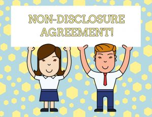 "A cartoon man and woman hold up a sign that says ""Non-Disclosure Agreement!"""