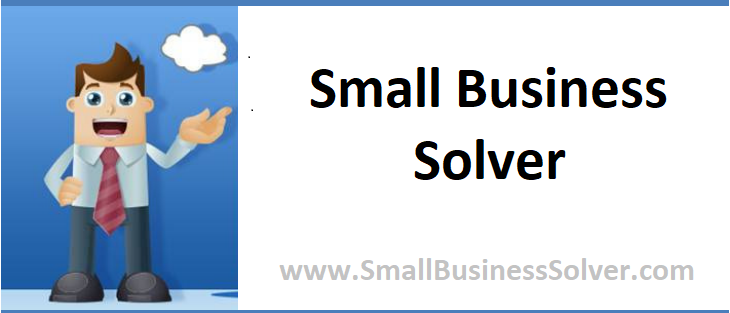 "The Small Business Solver logo - A cartoon man in business attire stands smiling against a blue sky with a cloud in it. ""Small Business Solver"" in black and ""www.SmallBusinessSolver.com"" are centred in grey on a white text box next to him."