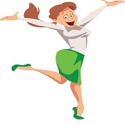 Cartoon. White businesswoman jumps, happy. She is wearing a green skirt and shoes and a white blouse. Keyword: competitive edge