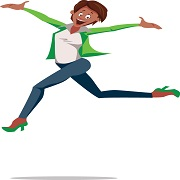Cartoon. Black businesswoman jumps happily. She wears blue pants, a white blouse, and a green jacket and shoes. Keyword: finding good suppliers and partners