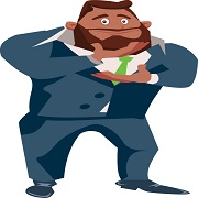 Cartoon. Black businessman in a blue suit strokes his beard. Keyword: action plan